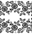 black seamless lace border with flowers on white vector image vector image