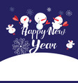 bright new year card with snowmen and snowflakes vector image vector image