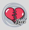 broken heart to love symbol decoration vector image