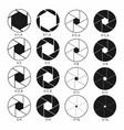 Camera shutter aperture icons set monochrome