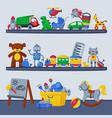 children toys on shelves boy room interior design vector image