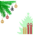 christmas card with fir branches baubles and gifts vector image vector image