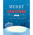 Christmas greeting card with a winter landscape vector image