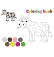Coloring book cow kids layout for game vector image vector image