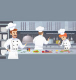 commercial kitchen with cartoon characters chef vector image vector image
