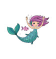 Cute cartoon little mermaid siren sea theme