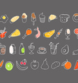 Different food hand-drawn silluettes coolection vector image