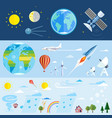 flat icons of space and meteorological elements vector image