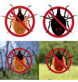 four warning sign harvest bug on a white vector image