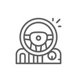 game steering wheel with pedals and gearbox line vector image