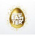 golden metallic shiny eastr egg and typography vector image vector image