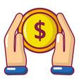 hand coin icon cartoon style vector image vector image