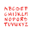 Hand drawn red chalck alphabet