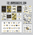hand drawn st valentines day set vector image