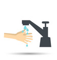hands under falling water out of tap in flat style vector image