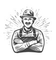 happy farmer in hat with crossed arms drawn