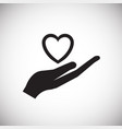 heart holding hand on white background vector image