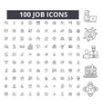 job editable line icons 100 set vector image vector image