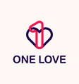 modern professional logo one love in purple and vector image
