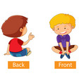 opposite adjectives words with back and front vector image vector image