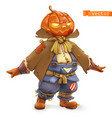 pumpkin scarecrow happy halloween 3d cartoon vector image