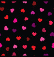 seamless pattern red hearts on black vector image
