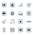 set of 16 music icons includes audio mobile last vector image vector image