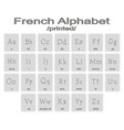 set of monochrome icons with french alphabet vector image vector image