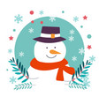 snowman character christmas winter holiday and vector image