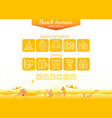 summer beach travel icon set infographics poster vector image vector image