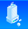 telecommunication building icon isometric style vector image