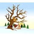 Village winter landscape vector image