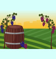 wine barrel and grapes background vector image vector image