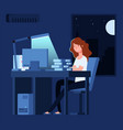 woman working at night unhappy stressed female vector image