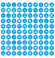100 team icons set blue vector image vector image