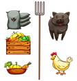 A group of things found at the farm vector image vector image