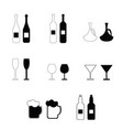 alcohol bottles and glasses set vector image vector image
