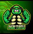 angry turtle esport logo mascot design vector image vector image