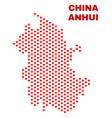 anhui province map - mosaic of valentine hearts vector image vector image