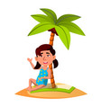 asian child sitting on the sand on the beach under vector image vector image