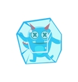 Blue Monster With Horns And Spiky Tail Frozen In vector image vector image