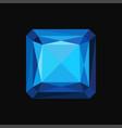 blue sapphire precious square stone gemstone vector image
