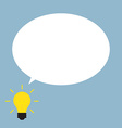bright light bulb and blank bubble vector image vector image