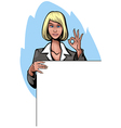 Businesswoman with banner vector image vector image