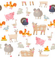 cheerful cute farm animals seamless pattern vector image