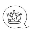 crown into speech bubble black and white vector image vector image