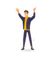 delight and amorous caucasian man with thumbs up vector image vector image