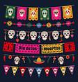 dia de los muertos bunting flags mexican dead day vector image