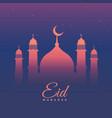 eid mubarak festival greeting in purple theme vector image
