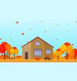 farm house in autumn season background vector image vector image